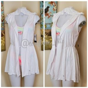 [NEW] Pink Lotus Hooded Cover Up Vest